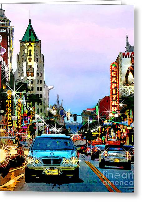 Greeting Card featuring the digital art Sunset On Hollywood Blvd by Jennie Breeze