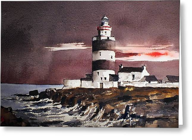 Sunset On Hook Head Wexford Greeting Card