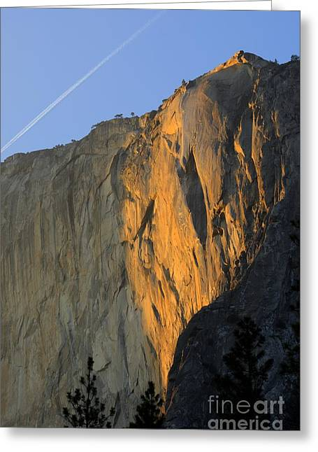 Sunset On Horsetail Fall Greeting Card by Jim and Emily Bush