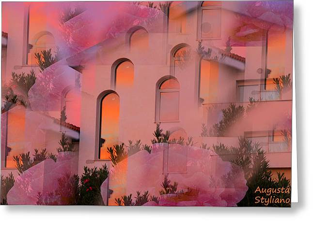 Sunset On Houses Greeting Card