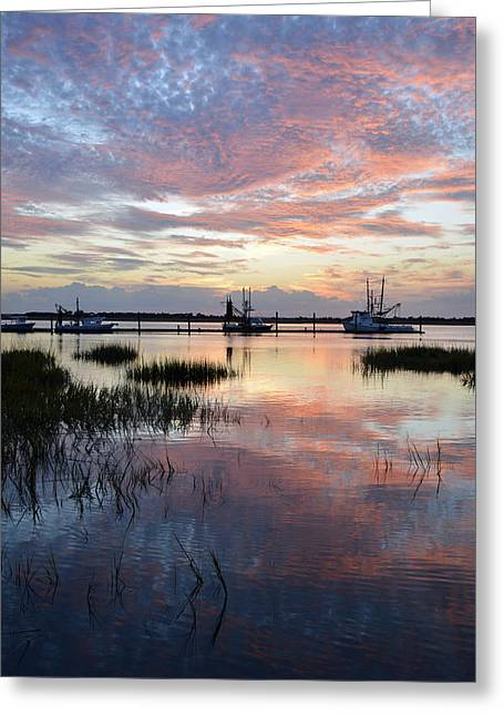 Sunset On Jekyll Island With Docked Boats Greeting Card