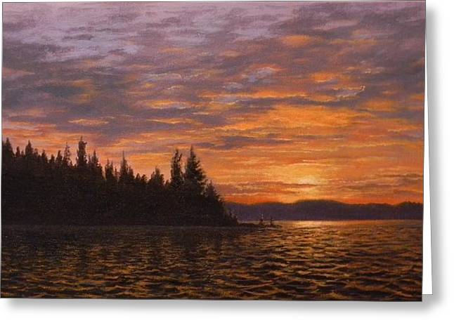 Sunset On Kayak Point Greeting Card