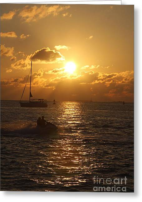 Sunset Over Key West Greeting Card by Christiane Schulze Art And Photography