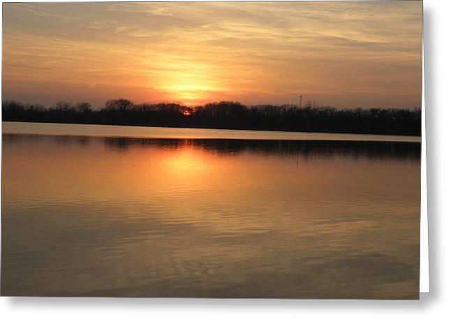 Sunset On Lake Greeting Card by Cim Paddock