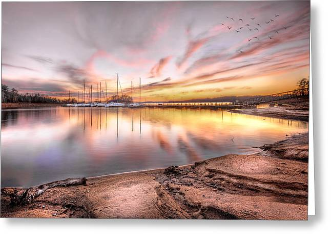 Sunset On Lake Hartwell Greeting Card by Brent Craft