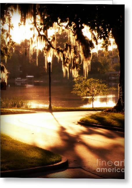 Greeting Card featuring the digital art Sunset On Lake Mizell by Valerie Reeves
