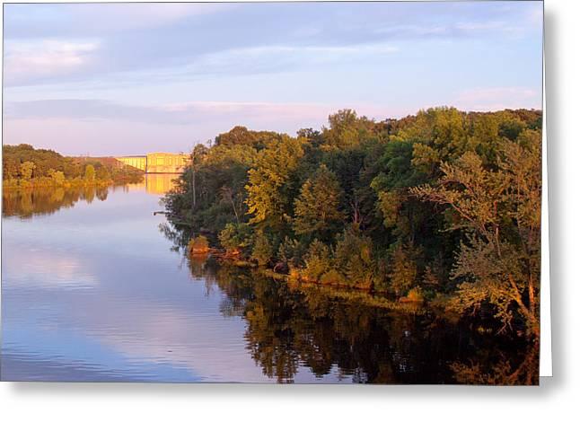 Sunset On Lake Wissota Dam Greeting Card
