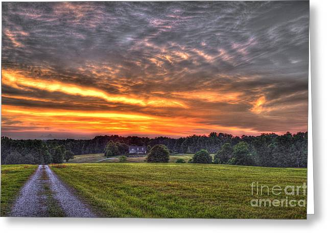 Take Me Home Sunset On Lick Skillet Road  Greeting Card by Reid Callaway