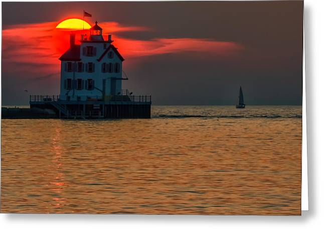 Sunset On Lighthouse Greeting Card