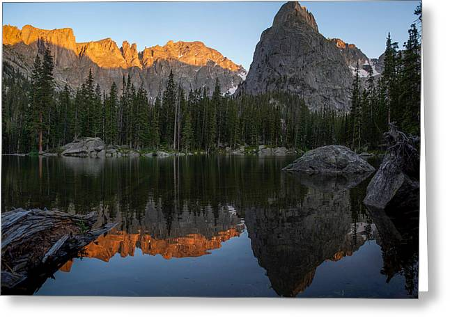 Sunset On Lone Eagle Peak Greeting Card by Aaron Spong
