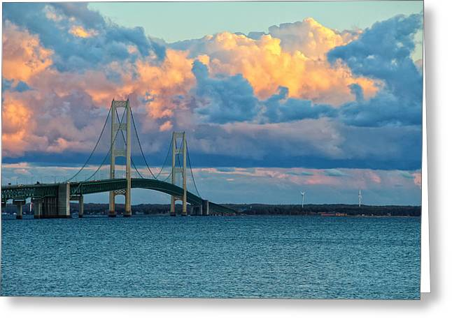Sunset On Mackinac Bridge Greeting Card