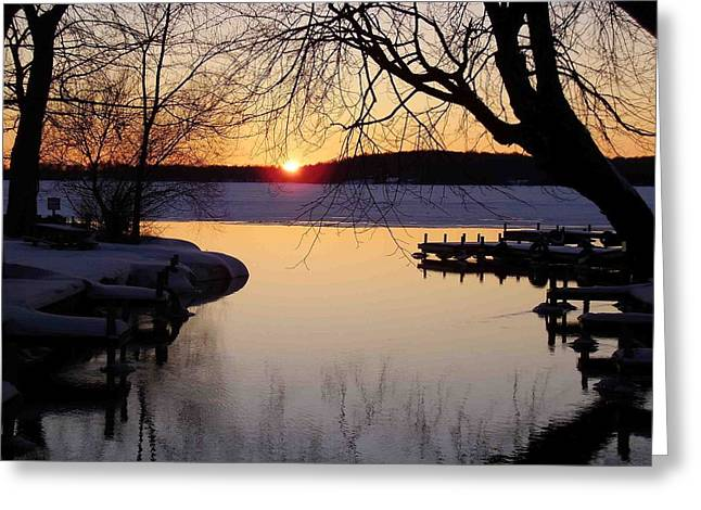 Sunset On Manistique Greeting Card by Feva  Fotos