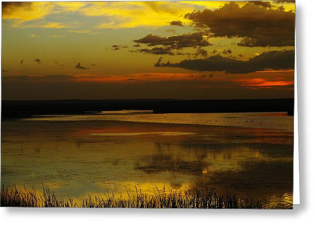 Sunset On Medicine Lake Greeting Card by Jeff Swan