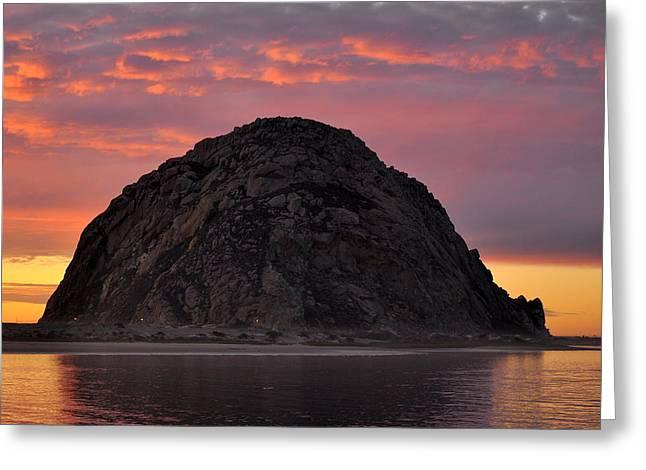 Sunset On Morro Rock Greeting Card