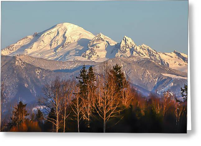 Sunset On Mount Baker Greeting Card