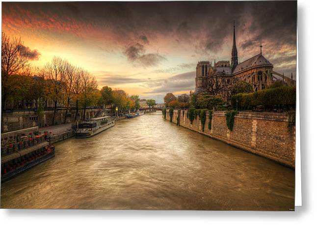 Sunset On Notre Dame Greeting Card