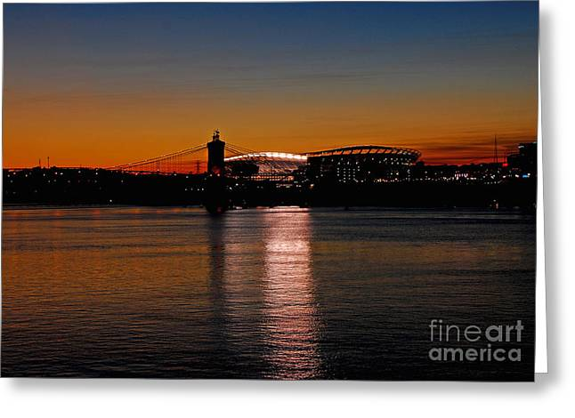 Greeting Card featuring the photograph Sunset On Paul Brown Stadium by Mary Carol Story