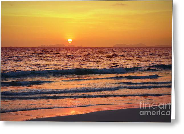 Sunset On Phiphi Island Greeting Card by Atiketta Sangasaeng