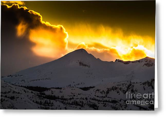 Sunset On Pyramid Greeting Card by Mitch Shindelbower