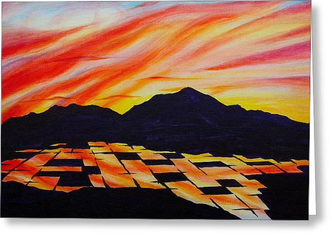 Greeting Card featuring the painting Sunset On Rice Fields by Michele Myers