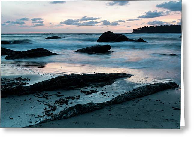 Sunset On Second Beach, Olympic Greeting Card by Deb Garside