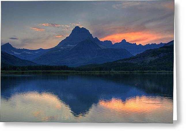Sunset On Swiftcurrent Lake Greeting Card