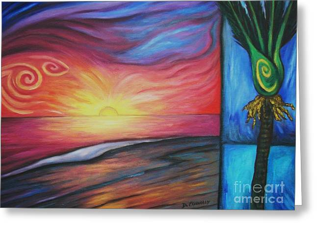 Sunset On The Beach And Nikau Palm Greeting Card