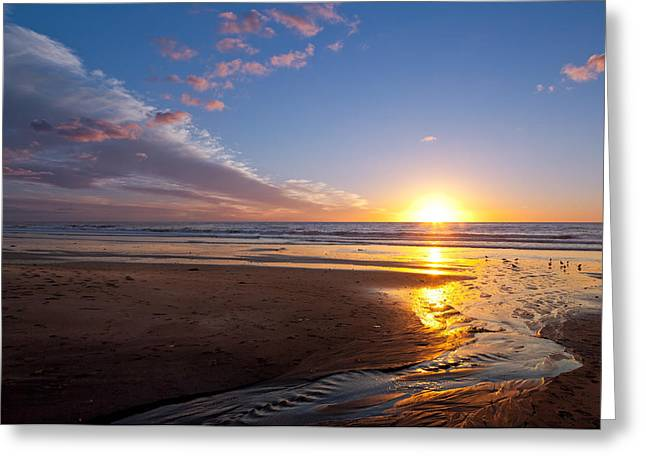 Sunset On The Beach At Carlsbad. Greeting Card