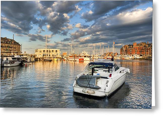 Sunset On The Boston Waterfront Greeting Card by Mark E Tisdale