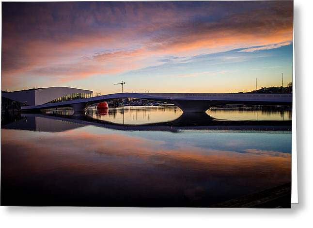 Sunset On The Bridge Greeting Card by Mirra Photography