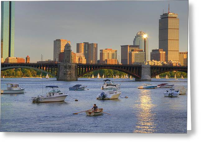 Sunset On The Charles Greeting Card by Joann Vitali