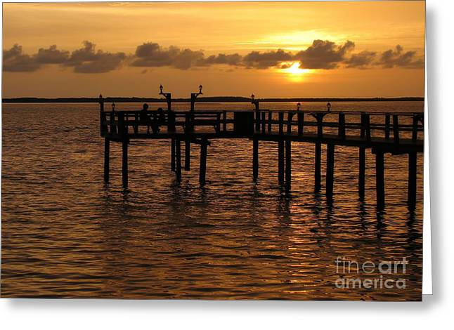 Sunset On The Dock Greeting Card by Peggy Hughes