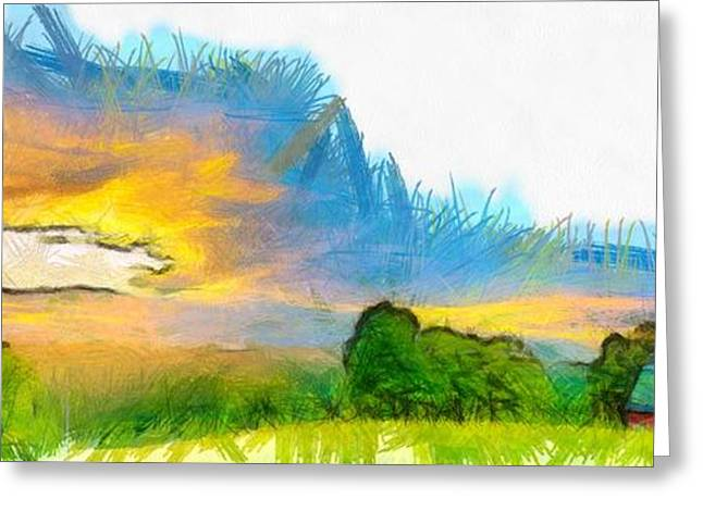 Sunset On The Farm Pencil Greeting Card by Edward Fielding