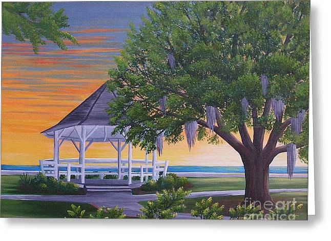 Sunset On The Gazeebo Greeting Card