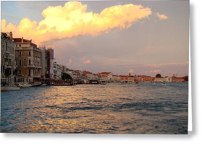 Greeting Card featuring the photograph Sunset On The Grand Canal by Walter Fahmy