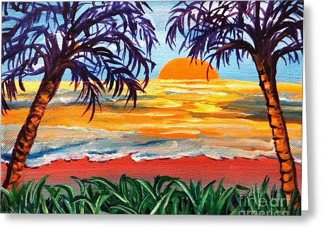 Greeting Card featuring the painting Sunset On The Gulf by Ecinja Art Works