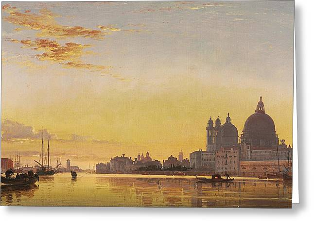 Sunset On The Lagoon Of Venice Greeting Card by Edward William Cooke
