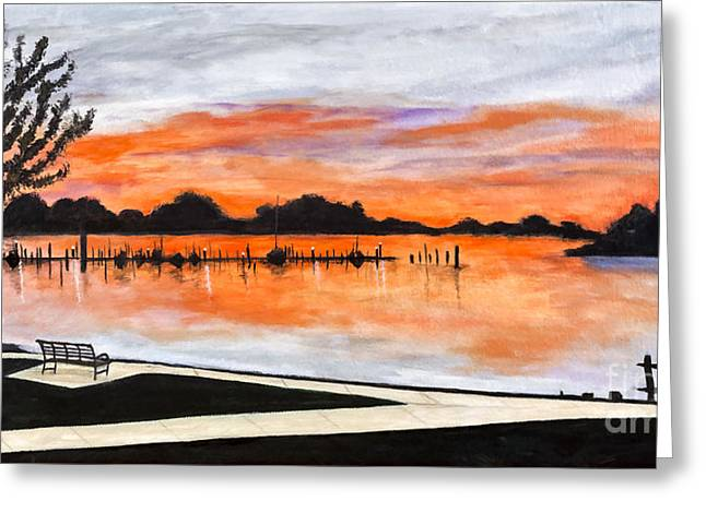 Sunset On The Lake By Lucia Van Hemert Greeting Card