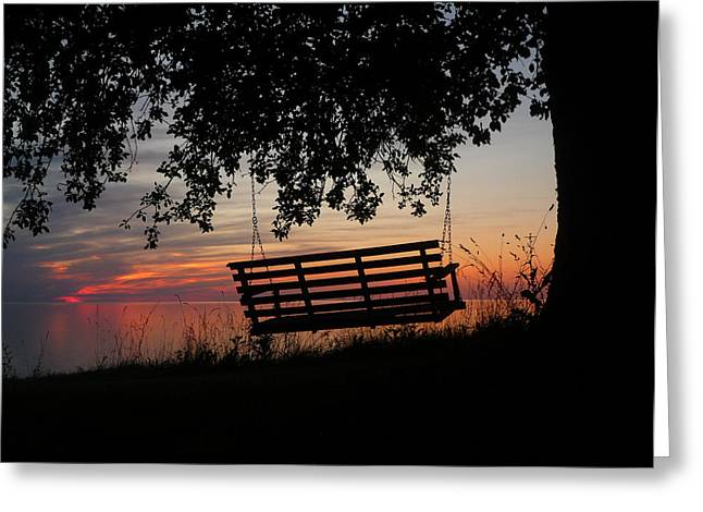 Sunset On The Lake Greeting Card by Heather Allen