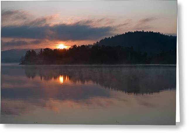 Sunset On The Lake Greeting Card by Marek Poplawski