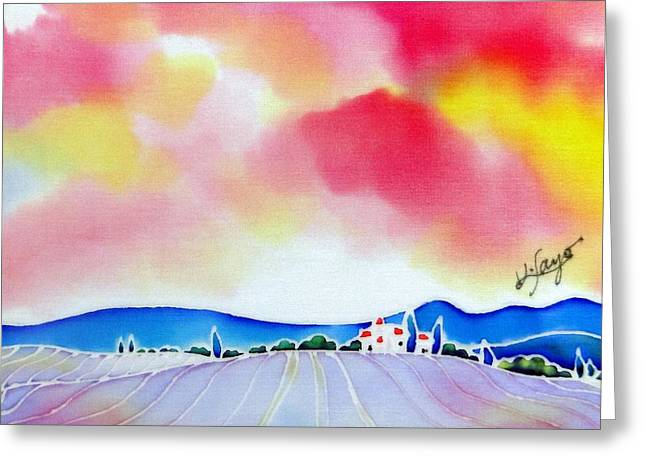 Sunset On The Lavender Farm  Greeting Card