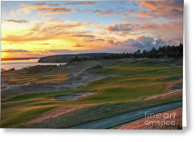 Sunset On The Links - Chambers Bay Golf Course Greeting Card