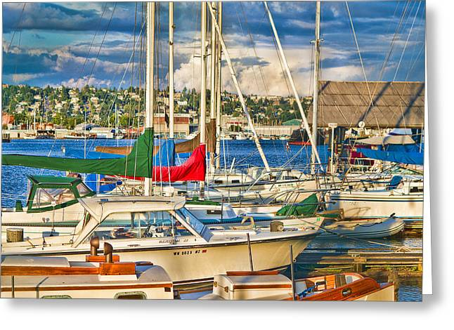 Sunset On The Marina Greeting Card