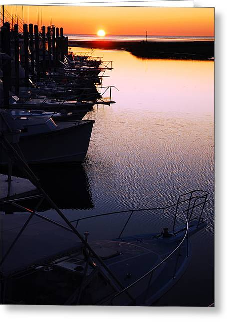 Greeting Card featuring the photograph Sunset On The Marina by James Kirkikis