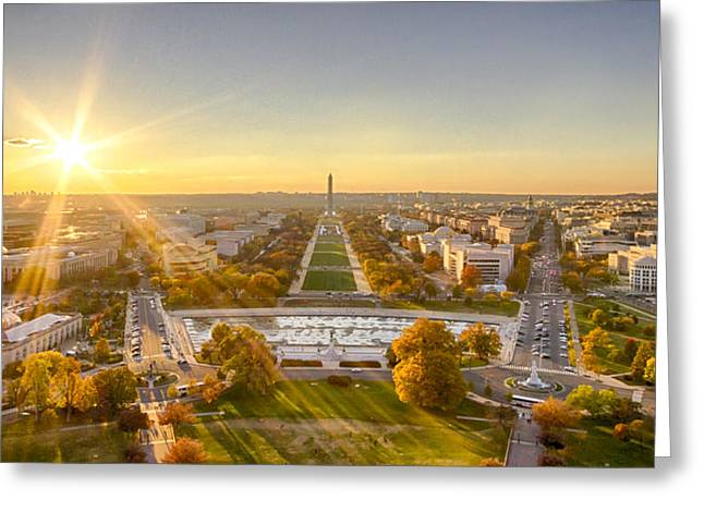 Sunset On The National Mall Greeting Card