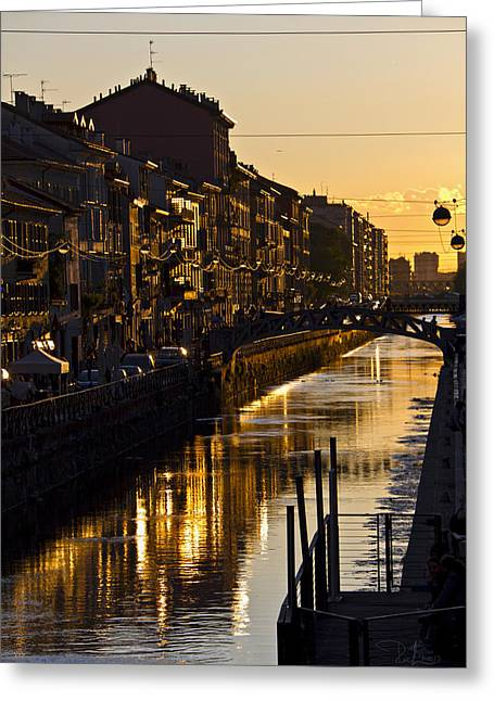 Sunset On The Navigli In Milan Greeting Card
