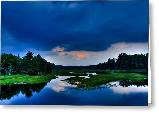 Sunset On The North Branch Of The Moose Greeting Card by David Patterson