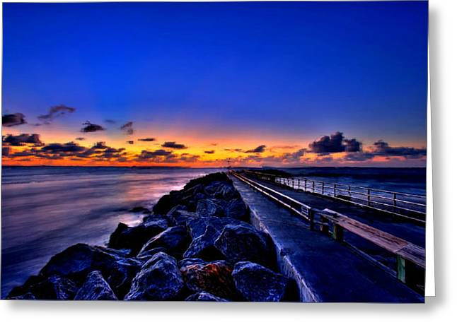 Greeting Card featuring the painting Sunrise On The Pier by Bruce Nutting