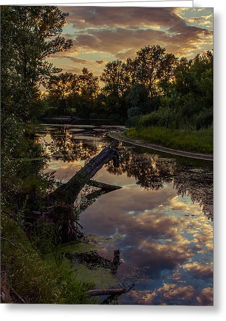 Sunset On The Quiet River Greeting Card