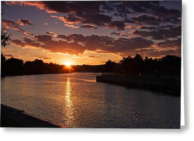 Greeting Card featuring the photograph Sunset On The River by Dave Files